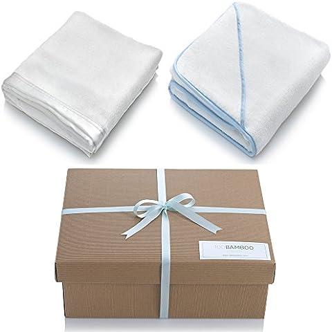 Manta para bebé toalla con capucha y caja de regalo conjuntos de fibra de bambú bebé manta con un satén frontera–suave crema y bambú bebé toalla con capucha–600g/m²–EN CAJA DE REGALO CON LAZO–varios