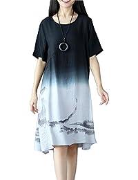 d9908d680ea134 OKSakady Damen Einfarbig Baumwolle und Leinen Kurzarm Lange Tunika Kleid