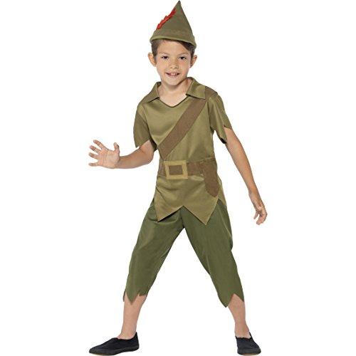 Peter Pan Kinderkostüm Robin Hood Kostüm S 4-6 Jahre 110-128 cm Mittelalter Räuber Märchenkostüm Waldläufer Mittelalterkostüm Jäger Räuberkostüm Bogenschütze Dieb Faschingskostüm Karnevalskostüme Jungen