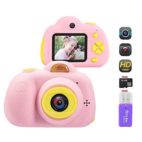 Cámara Digital para Niños, 18MP 1080P HD Video Cámaras para Niños con Tarjeta de Memoria de 16GB, Cámara de Fotos Digital (Rosa)