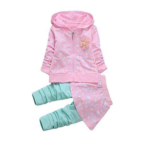Longra Kleinkind Kinder Baby Mädchen Kleidung Blumen Kapuzenmantel Tops + Hosen Rock Kleider Set Herbst-Winterjacke Baby Sweatjacke Sweatshirt mit kapuze (0-36Monate) (90CM 18Monate, Pink) (Jacke-rock-hose -)
