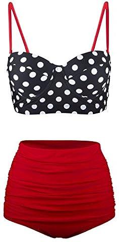 Angerella Damen Retro Stil Polka-Punkt mit hoher Taille Badeanzug Bikini Set (EU 46-48=Tag Size 5XL, Rot-1)