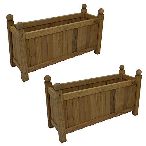 2-x-traditional-wooden-rectangular-planters-garden-plants-flowers-outdoor-natural-new