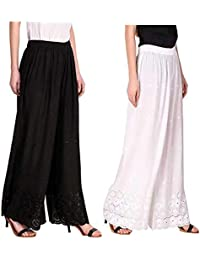RZLECORT Women's Loose Fit Palazzo (Pack of 2) (AL-BLA-WH-RAYAN-CHI-PLAZO_Black & White _Free Size)