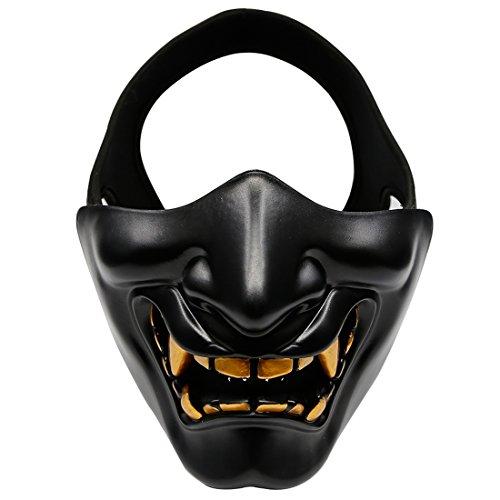 (BANDRA Halbes Gesichtsmaske Teufel Lächeln Halloween Party Maske Taktische schützende Halbes Gesicht Schützen Maske für Paintball Airsoft CS Spiel (Schwarz))