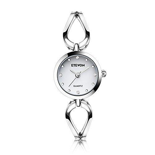 DAGE Armbanduhr Damen Silber Analoge Quarz Uhren Wrist Watch Mit Weiß Kleine Kristall Zifferblatt Wasserdicht Uhr für Frau Mädchen weiblich