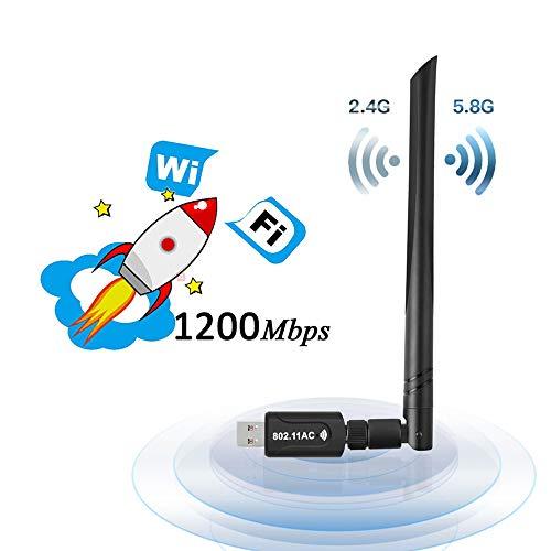 Lanero WLAN Stick 1200Mbit/s mit 5dBi Antenna Dualband (5G/867Mbps + 2.4G/300Mbps) USB 3.0 WiFi Stick Wireless Standards Kleine WiFi-Empfänger WiFi Adapter für Desktop/PC/Laptop/Notebook -
