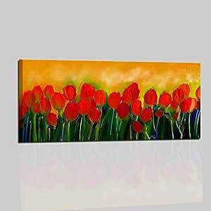 bilder handgemalt f r lounge wohnzimmer k che sofa schlafzimmer rahmen mit tulpen orange rot. Black Bedroom Furniture Sets. Home Design Ideas