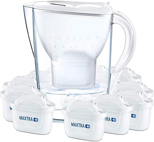 BRITA Wasserfilter Marella weiß inkl. 12 MAXTRA+ Filterkartuschen - BRITA Filter Jahrespaket zur Reduzierung von Kalk, Chlor & geschmacksstörenden Stoffen im Wasser
