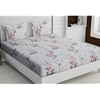 haus & kinder Garden Floral Magic Print, 100% Cotton Double Bedsheet with 2 Pillow Covers, 186 Thread Count (Purple)