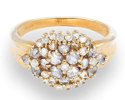 Ring 9 Karat (375) Gelbgold Tansanit Diamant Größe N 12 x 15 mm (Größe 9 Tansanit-ring)