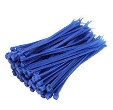 A-goo 100 pcs Couleur en nylon Trompes avec Trompes avec 2,5 * 100 à verrouillage en nylon ruban adhésif, bleu, 1