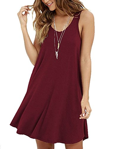 VIISHOW New Womens Swing Dress Ladies Flared Stretch Top Tunic Plus Size (Wine red S)