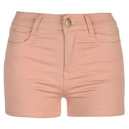 Golddigga Damen Stretch Shorts Freizeit Kurze Hose 5 Taschen Design Guertelschlaufen Staubig Rosa
