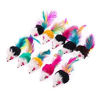 Kaigeli 10 pièces coloré drôle Souris Petite Souris Queue Chat Pet Jouet - Couleurs aléatoires