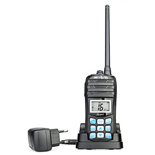 Retevis RT55 Walkie Talkies IP67 5W 16CH / Chiamata/Meteo Canali IP67 Handheld VHF Marino Vhf Portatile con Allarme Meteo NOAA Vibrazione Acqua Galleggianti Drenanti Vhf Marino (Nero,1 Pezzo)