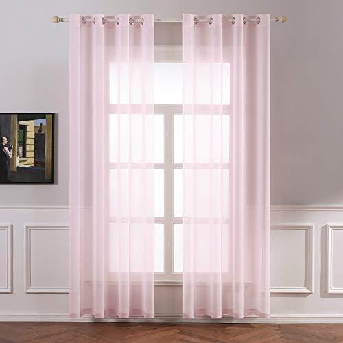 Miulee tende 2 pannelli trasparenti in voile con occhielli morbidi finestre per camera da letto e soggiorno 140x260cm rosa chiaro