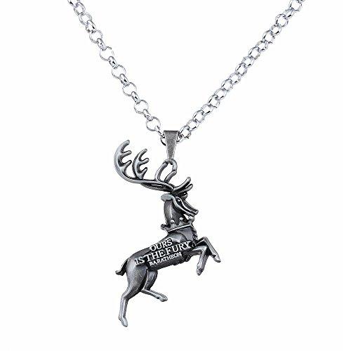 Lureme Spiel der Throne Baratheon Anhänger Halskette-Antique Silber (nl005387-2)