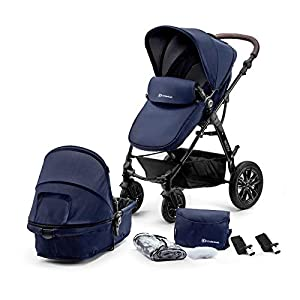 Kinderkraft Pram MOOV 2 in 1 Set Folded Travel System with Carrycot Pushchair Pumped Wheels | Accessories Rain and Foot Cover Mosquito Net from Birth to 3 Years (0-13kg)   11