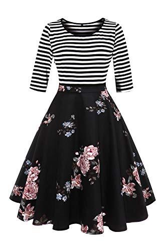 Axoe Damen A-Linie Kleid 60er Jahre Rockabilly mit Blumenrock 3/4 Ärmel Gr.36, L, Farbe ()