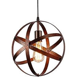 Lámpara colgante esférica industrial,Lámpara de techo metal Retro Vintage rústico,E27 Lámparas de araña para en cocina,escalera,dormitorio,salon,Diámetro 30cm,