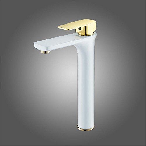 Küche oder Badezimmer Waschbecken Mischbatterie für den Kupferdraht Schwarz und Weiß High-Basin Wasser Leitungswasser Antioxidans Gesicht Wash-Hand Becken einzelne Bohrung Cold-Hot Wasser C Tippen -
