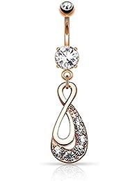 Bauchnabelpiercing Herz Ornament Zirkonia Anhänger Piercing 10mm #15
