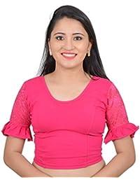 282da0ffeb1 Areum Womens Girls Cotton Lycra Pink Ruffle Sleeves U neck Stretchable  Readymade Saree Blouse Crop Top