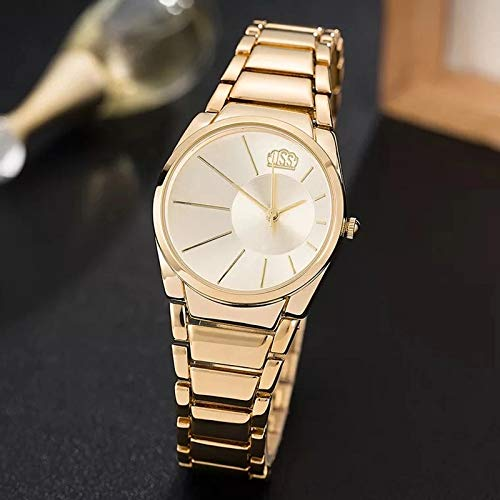 PLKNVT Brand Women Gold Watches Skin Igp Gold Plated Ladies Dress Watches  gold
