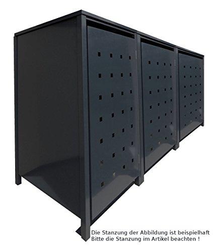 BBT@ | Solide Mülltonnenbox für 3 Tonnen je 120 Liter mit Klappdeckel in Schwarz (RAL 9005) / Ohne...