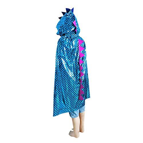 Kinder Halloween Kostüm Halloween Umhang Mit Kapuze Lange Glitzernd Drachen-Motiv Bekleidung Fasching Karneval Kostüm Cosplay Requisiten Set für Mädchen Junge