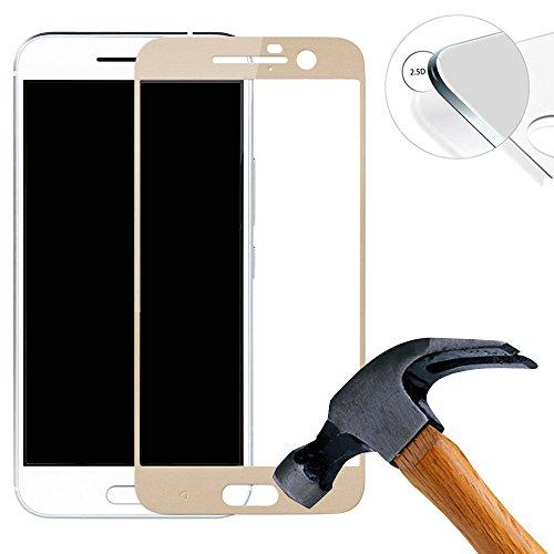 Lusee 2 X Pack (vollständige Abdeckung) 9H Panzerglasfolie Tempered Glass Hartglas für HTC one M10 5.2 Zoll Premium Screen Folie Protector Bildschirmschutz (Gold)