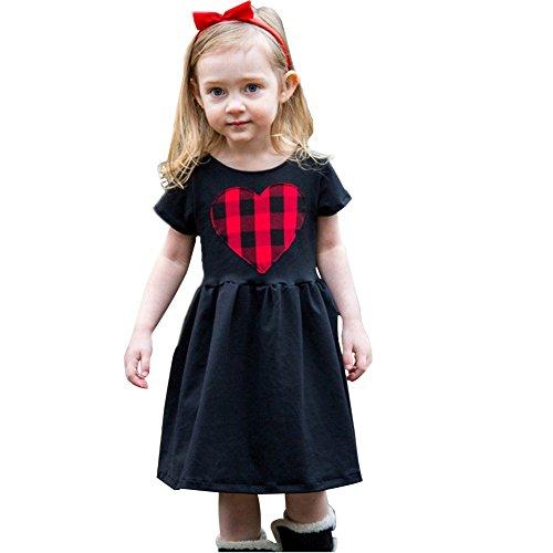 Minetom Sommer Kinder Mädchen Prinzessin Shirts Kleider Süß Herz Gestreiften Rundhals Kurzarm Elastizität Sommerkleid Partykleid Schwarz A 110 (Kurzarm-achselzucken)