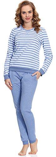 Merry Style Damen Schlafanzug MS10-107 (Blau, M)