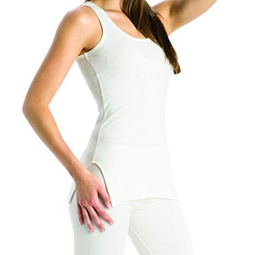 ch Unterhemd 2500- niedrig Hals Design - gemütlich geschneiderte PASSFORM- lang - Gebrochen weiß, Small ()