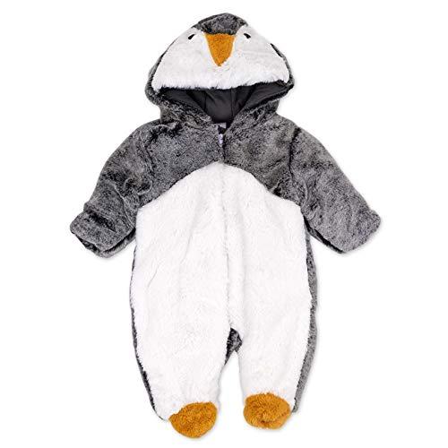 Just Too Cuddly Baby Overall Unisex weiß schwarz | Motiv: Pinguin | Tierstrampler mit Kapuze für Neugeborene & Kleinkinder | Größe: 6-9 Monate ()