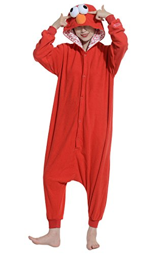 Fandecie Pigiama/costume onesie da adulti, tema: Sesame Street Rosso, unisex, ideale per Halloween/cosplay/dormire/, per altezze da 160 a 175 cm - Medium