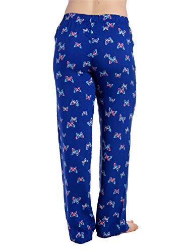 Bas de Pyjama en Viscose pour Jeune Femme Papillon - Bleu Marine