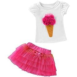 Lonshell ❤️ Conjunto de Ropa Bebe Niña Verano Recien Nacido Bebé Camiseta de 3D Helado Patrón Y Falda con Bowknot Tops Vestido 2 Piezas (100/1T, Rosa caliente)
