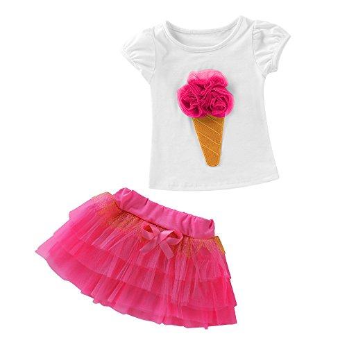 (Zhen+ Baby/Kinder Mädchen Bekleidungs Sets, Kurzarm Shirt + Prinzessin Kleid, Mode Niedlich Baby-Kleidung Top Hemden Weste Pompon Rock Outfits Babyanzug (12 Monate, Pink))