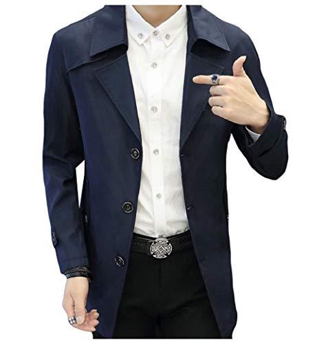 CuteRose Men Loose Fit Button Notch Lapel Big and Tall PEA Coat Jacket Dark Blue S