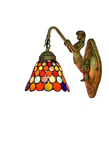 Tiffany Wandleuchten Europäischen Barock Tiffany Leuchte Schlafzimmer Licht Mermaid-Stil Spiegel Vorne Licht Retro Badleuchte Farbe Glas Lampeschirm Wandlampe Für Schlafzimmer Wohnzimmer Foyer Flur,H -