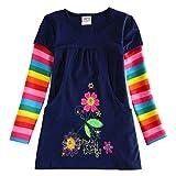 VIKITA Mädchen Blumen Langarm Baumwolle Kleid 2-8 Jahre H5802LONG 4T