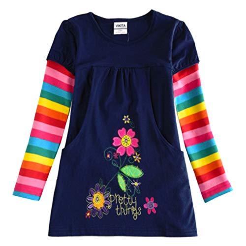 VIKITA Mädchen Blumen Langarm Baumwolle Kleid EINWEG H5802LONG 4T