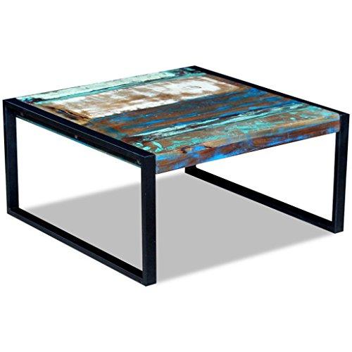 Festnight Table Basse Table à café en métal Le Style Industriel en Bois de récupération 80 x 80 x 40 cm