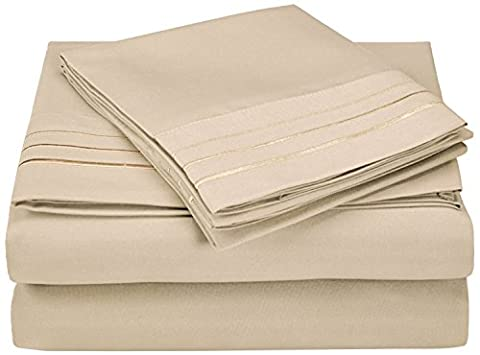 Superior 3000 Series Super Soft and Wrinkle Resistant Microfibre 4-Piece Bed Sheet Set with 3-Line Embroidery in Gift Box, Eastern King,