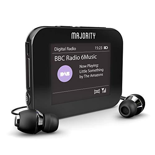 Majority Petersfield Color - Personal Digital DAB/DAB+ / Radio FM, USB portatile ricaricabile, doppio orologio sveglia, cuffie inclus