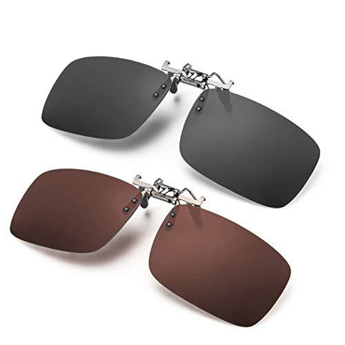 ELIVWR 2 Pares Gafa de Sol Polarizada con Clip de - Gafas Conducción/Golf/y Mucho Más Deportes Exteriores,100% de Protección Contra Los Rayos UVA/UVB Dañi (marrón+ gris, 59 * 41)