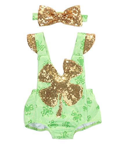 Luckylife Baby Neugeborenes Mädchen Strampler Overalls Niedlich Romper Ostern Festanzug Glücklich Gras (2-3 Jahre, Grün)