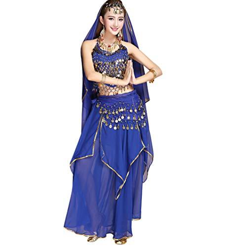 Saphir Kostüm Bauchtänzerin - TianBin Damen Top Bra Lange Maxirock mit Volant Tanzrock Tanzkostüm Bauchtanz-Kostüm (Saphir#1, One Size)